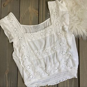 American Eagle White Eyelet Crop Top